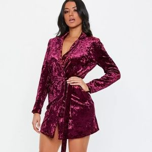 Missguided Carli Bybel Crushed Velvet Dress/Coat